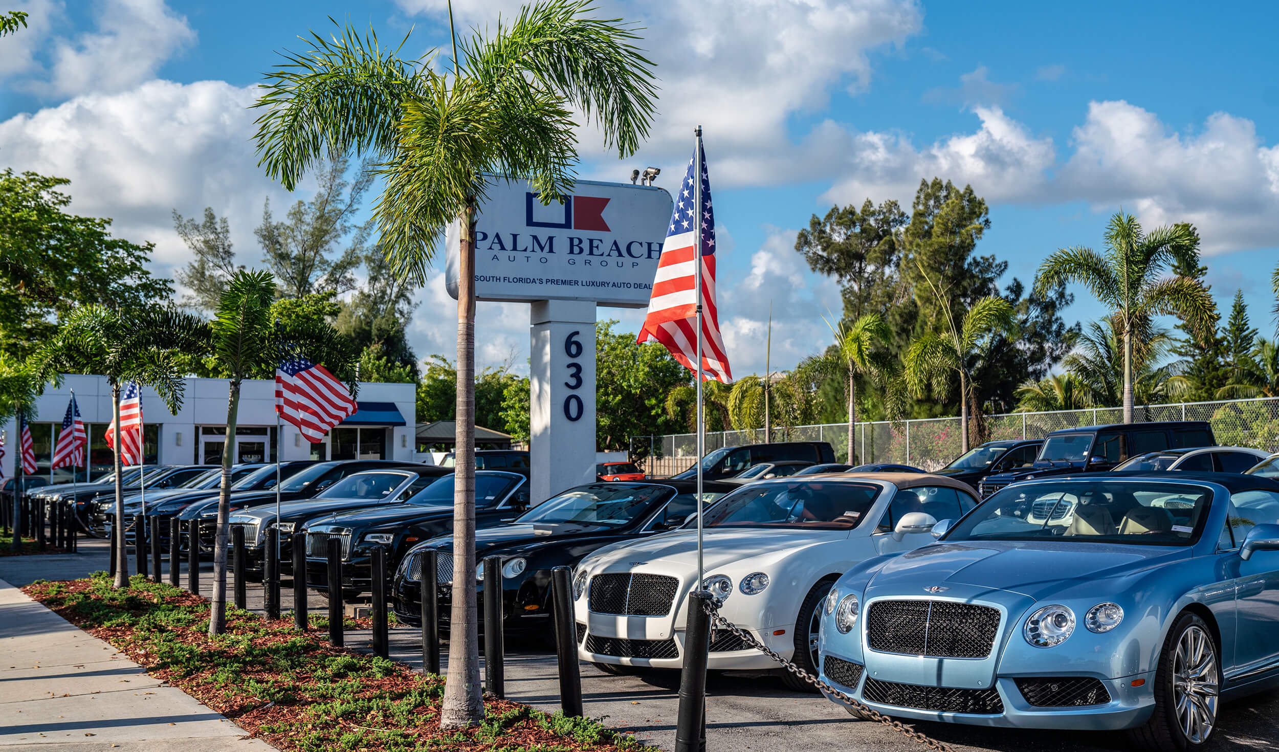 Exterior image of Palm Beach Auto Group dealership: line of cars with flags & palm trees.